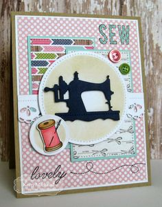 Sew Lovely by girlydecou - Cards and Paper Crafts at Splitcoaststampers Money Cards, Diy Cards, Sewing Cards, Friendship Cards, Card Tags, Creative Cards, Anniversary Cards, Homemade Cards, Making Ideas