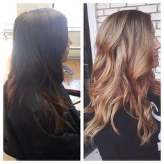 Brown hair to Blonde Hair Transformation