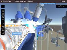 3D model turbíny a animace směru proudění páry elektrárny Nový zdroj Ledvice