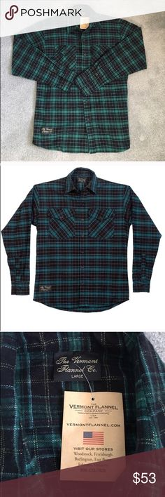 Vermont Flannel Company Green Plaid Flannel Green and black plaid button down Flannel shirt from the Vermont Flannel Company. Size large. Classic fit. Brand new with tags, never worn. Vermont Flannel Company Shirts Casual Button Down Shirts