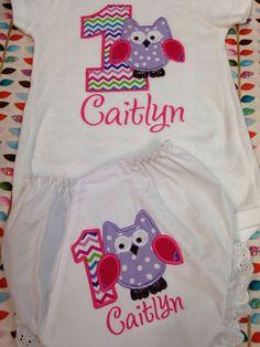 Girls first birthday appliquéd owl shirt $25.00 Girls first birthday appliquéd owl diaper cover $15.00