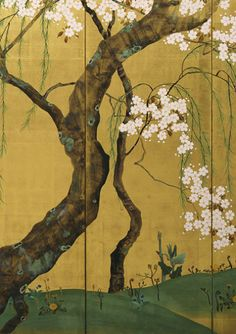 One of a pair of Japanese Folding Screens: Maples and Cherry Trees. by Sakai Hoitsu 酒井抱一. The Denver Art Museum. Chinese Painting, Chinese Art, Art Chinois, Japan Painting, Art Japonais, Japanese Flowers, Gold Art, Cherry Tree, Japan Art