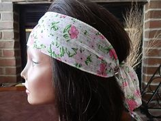 White and Pink Flower headband Boho Floral wrap by myfashioncreations, $11.99