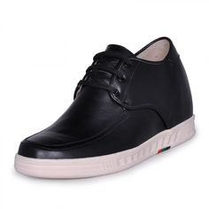 Black genuine leather heel lift shoes 7cm/2.75inch casual elevator shoes