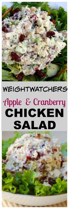 Weight Watchers Chicken Salad with Apples & Cranberries Recipe with SmartPoints. #simplenourishedliving #healthy #easy #recipe #chicken