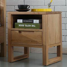 Bruno 1 Drawer Bedside Table - Solid Oak - 35x42x49cm