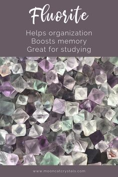 Fluorite is a stone of wisdom, strength, and organization - so it's great for all kind of projects and endeavors that require concentration, including studying.  Come explore more beautiful crystals and gemstones at Mooncat Crystals (www.mooncatcrystals.com). See you soon!  #fluorite #crystalproperties #healingcrystals #crystalhealing #crystals #crystalshop #crystalmeanings #crystalsmeanings #crystalsforbeginners #crystalsandstones