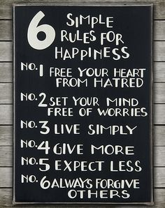 Home Decor Sign. 6 Simple Rules for Happiness.