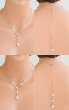 Pearl /& Crystal Diamante Clip-on Backdrop Attachment necklace Back Chain 57S