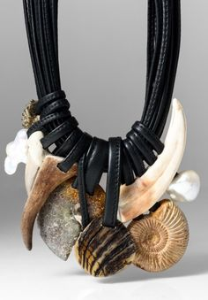MONIES UNIQUE AMMONITE, WARTHOG TUSK, PEARL, & ANTLER NECKLACE $3,165.00 (Santa Fe Dry Goods)