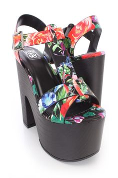 Black #Floral Print T-Strap Open Toe Chunky Platform #Heels Faux Leather