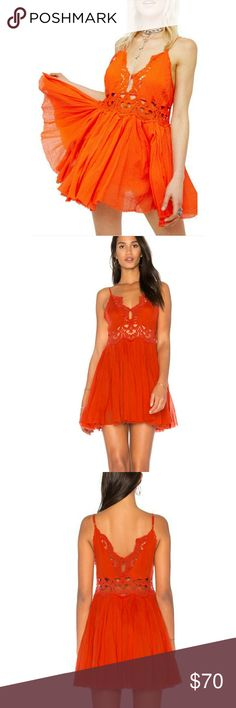 """Free People llektia Lace Mini Dress Eye-catching crochet lace cut-out empire waist mini. Lovely crochet and pretty pleats breathe life into this flirty dress! Features plunging v-neckline and small hook closure at front and back of this stunning mini!! NWT Size L approx measurement laying flat Bust 19"""" Waist 19"""" Length 31.5"""" 100%cotton Free People Dresses Mini"""
