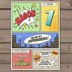 Items Op Etsy Die Superhero Birthday Invitation Party Comic Book Invite First Boy PRINTABLE ANY