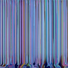 Ian Davenport, Puddle Painting: Purple Red, Light Blue, 2012