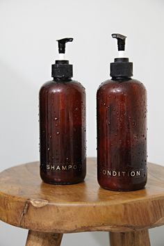 "I started the "" Just Three Things "" series earlier this year as a way for me to pop in with occasional topics and talking points that cross . Diy Shampoo, Brown Glass Bottles, Amber Glass Bottles, Glass Bathroom, Laundry In Bathroom, How To Make Shampoo, Reuse Bottles, Shampoo Dispenser, Organizers"