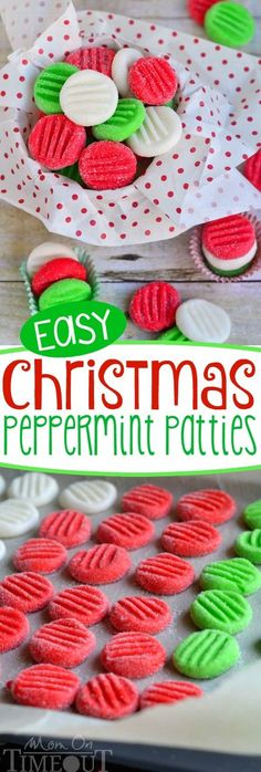 You're going to love this Easy Christmas Peppermint Patties recipe!  It's been a family tradition for YEARS! Super easy to make, fantastically festive, and always a hit with kids and adults alike.  These holiday treats are the perfect addition to cookie trays and make an excellent gift for teachers and friends!: