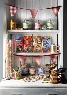 Retro sweets and bunting