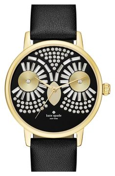 The crystal-encrusted dial fashioned into the shape of an owl face lends who's-who style to this whimsical gold-plated Kate Spade watch perfect for fall.