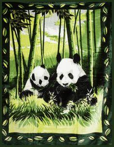 Zelená deka s motívom pánd Panda Bear, Animals, Animales, Animaux, Panda, Animal, Animais, Pandas