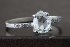 Natural Clear Rose Cut Diamond Ring with Pavé Band                                     – Alexis Russell