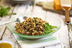 In this simple quinoa pilaf, salsa verde (tomatillo salsa) makes a bold flavor statement. It has a somewhat smoky flavor that adds a distinctive character.