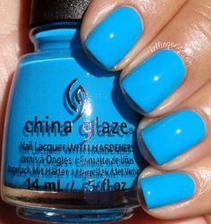 Here is DJ Blue My Mind, a bright medium azure blue crème. Ive heard some people had staining with this one but I didnt have an issue, but just be cautious and maybe double up on your base coat. This had a fabulous formula, two coats. China Glaze Nail Polish, Blue Nail Polish, Pedicure Designs, Nail Art Designs, Nail Design, Bright Blue Nails, Bright Colors, Manicure Y Pedicure, Manicure Ideas