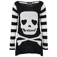 Jawbreaker Skull & Crossbones Knit | Gothic Clothing | Emo clothing |... ($45) ❤ liked on Polyvore featuring tops, sweaters, shirts, long sleeves, knit sweater, goth shirts, long sleeve shirts, skull sweater and long sleeve sweaters