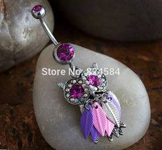 316L surgical steel navel chain owl shape belly button ring jewelry1 piece free shipping