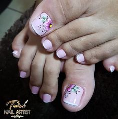 Unhas do Pé Decoradas 2257 Pedicure Nail Art, Toe Nail Art, Toe Nails, Toe Nail Designs, Gel Nail Polish, Nail Arts, Finger, Lily, Pedicures