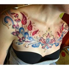 Instagram photo by le_babs - #rosemaling #tattoo #chestpiece .