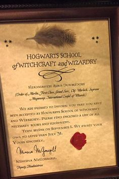 Printable birthday invitation hogwarts letter harry potter inspired framed hogwarts acceptance letter complete with hogwarts wax seal comes in sizes 8x10 6x8 5x7 frames may differ from photo yadclub Image collections
