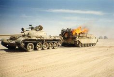 Iraqi Chieftain ARV is targeted during Gulf War when try to pull Iraqi T-55 tank.