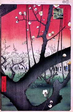 Ando Hiroshige >> The Plum Garden in Kameido  |  (Oil, artwork, reproduction, copy, painting).