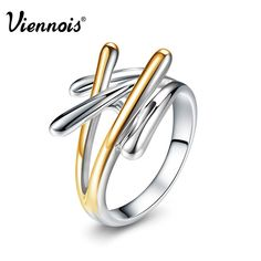 Viennois Brand New Fashion Jewelry Gold & Silver Color Cross Rings For Women Size 7 8 9 Female Party Finger Ring