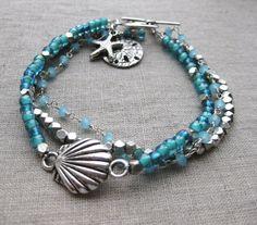 Beachy Blue - Multi Strand Coastal Bracelet, w Sand Dollar  Starfish charms by SeaSide Strands