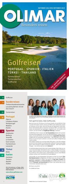 OLIMAR Golfreisen 1213 - Magazine with 68 pages: OLIMAR Golfreisen 1213 Algarve, Portugal, Sports Magazine, Wood, La Gomera, Teneriffe, Lanzarote, Majorca, Sicily