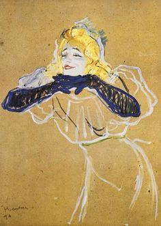 "Yvette Guilbert che canta ""Linger, Longer, Loo"", 1894, olio su carta, Henri de Toulouse-Lautrec. Pushkin Museum, Mosca, Russia."