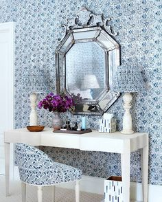 Dressing area with blue and whit wallpaper and Venetian mirror. Amazing Blue and White Traditional Interior Design Ideas! Blue Rooms, White Rooms, Blue Bedroom, Master Bedroom, Beautiful Bedrooms, Beautiful Homes, House Beautiful, Beautiful Interiors, Home Interior Design