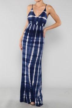 Blue Tie Dye Maxi Summer Dress | eBay