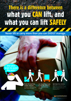 Workplace Health & Safety Poster reminding workers to not lift loads that are too heavy, but to use the options that are available to them. Available as & in Australia and NZ (printed in Aus), and & in the USA and Canada (printed in US). Safety Quotes, Safety Slogans, Health And Safety Poster, Safety Posters, Safety Week, Safety First, Driving Memes, Construction Safety, Industrial Safety