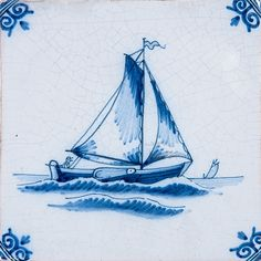 Boats Blue Glazed Ceramic Tiles 5x5 | Country Floors of America