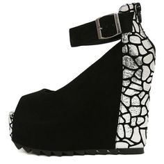 Fish Mouth Design White Alligator Paneled Strappy Wedge Heel Shoes | martofchina.com-Page Cached
