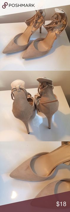 Cream Suede Lace-Up HEELS 👠 Brand new, in a box but they have a small glue smudge on the right shoe as shown in picture number three. Wild Diva Lounge Shoes Heels