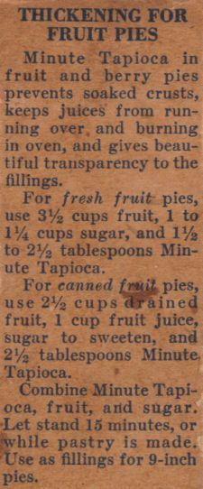 Thickening Recipe for Fruit Pies recipe….sometimes the old ways are the best w… Thickening Recipe for Fruit Pies recipe….sometimes the old ways are the best ways — tapioca keeps from having that raw cornstarch taste that sometimes happens Pudding Desserts, 13 Desserts, Delicious Desserts, Dessert Recipes, Fruit Recipes, Tart Recipes, Pudding Recipes, Retro Recipes, Old Recipes