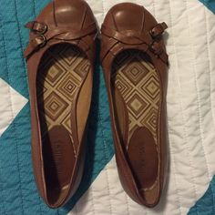Brown faux leather flats Hardly worn. Almost perfect condition. Maurices Shoes Flats & Loafers