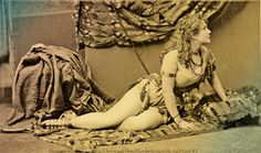 "Reclining like the love goddess America proclaimed her to be, Adah Menken appears here in her role for John Brougham's 1865 play, ""The Child of the Sun"".  – True West Archives –"