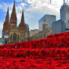 250,000 Poppies in Melbourne for ANZAC Day 2015 - Lest We Forget.