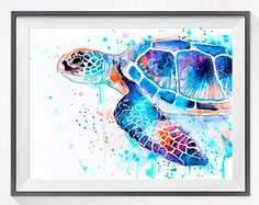 Babe Sea Turtle Original watercolor painting 9 X by ORIGINALONLY