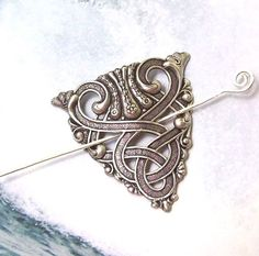 Silver Celtic Shawl Pin, Celtic Scarf Pin, Celtic Hair slide, mothers day, hammered, spring fashion, silver shawl pin, matte silver, $18.00