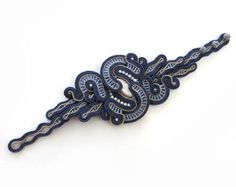Unique Navy blue Soutache Cuff Bracelet blue Bracelet by sutaszula